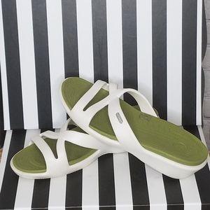 CROCKS Slip On Sandals White Size 9W
